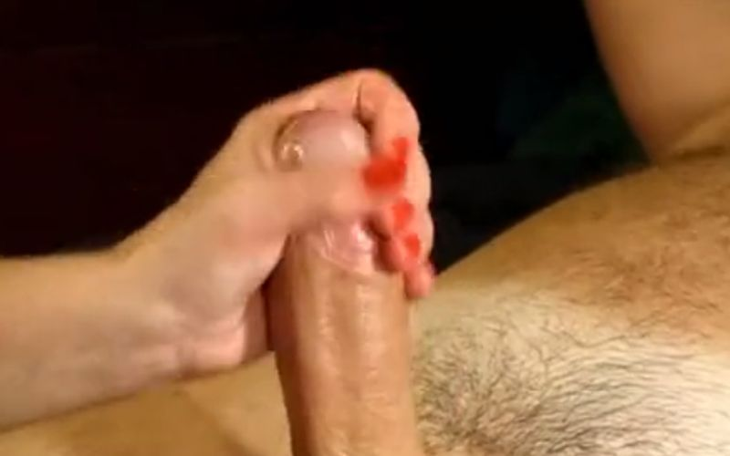 Elegant wife gives a blowjob and a handjob