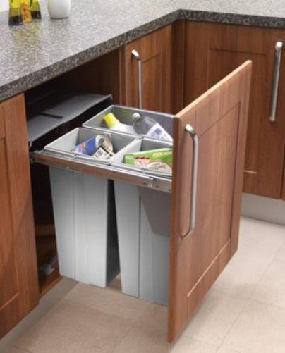kitchen recycling bins wall panels pull-out waste bin base mounted 68 litre capacity for ...