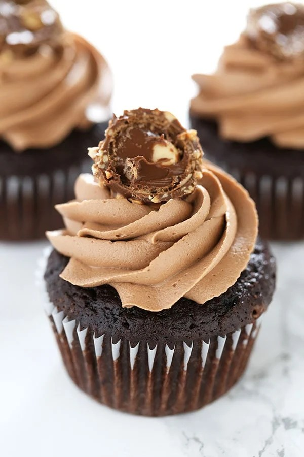 Nutella Frosting On Chocolate Cupcakes
