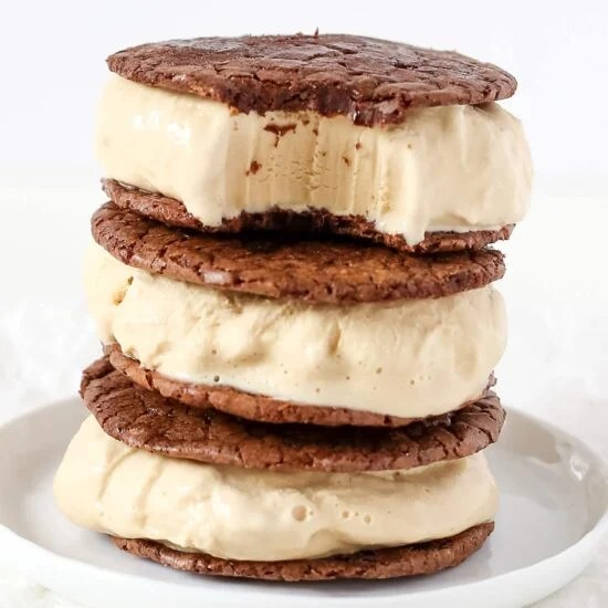 Coffee Brownie Ice Cream Sandwiches