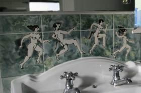 Basin splashback tiles classical figures