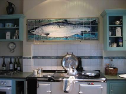 kitchen tiles - framed salmon panel