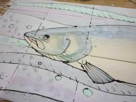 Salmon tile panel , glazed not yet fired.