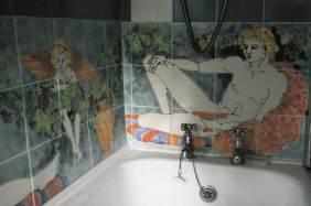 Reclining figure bath splashback tiles