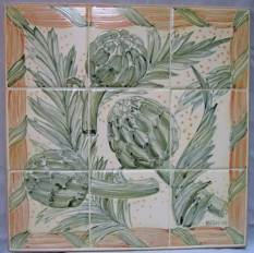 artichoke kitchen tile panel