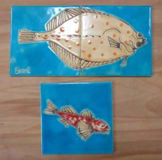 Goby and plaice handmade tiles