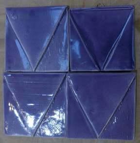 handmade tiles, purple Vs
