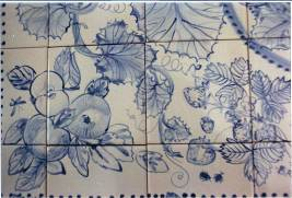 Blue and cream fruit tiles