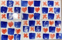 Hearts and squares and X sponge printed tiles