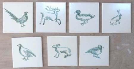 wildlife tiles, cream and green