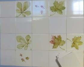 leaves stencil tiles
