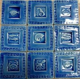 Sea creatures handmade stamped tiles