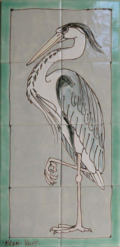 HStanding heron tile panel with border