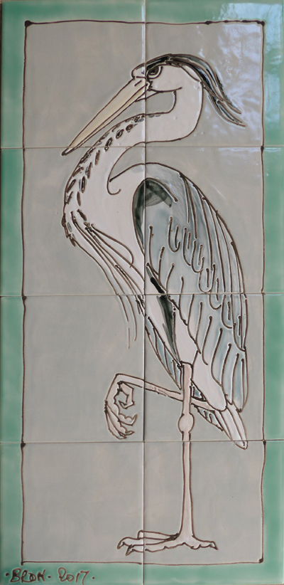 HStanding heron tile panel with border