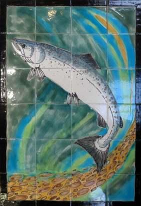 Leaping salmon tile panel