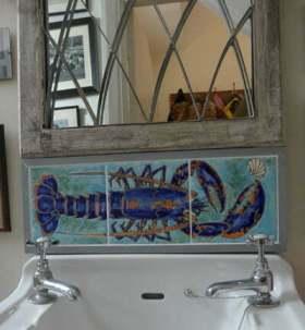 Lobster tiles hand decorated splashback