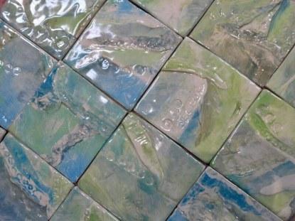 Green handmade clay tiles