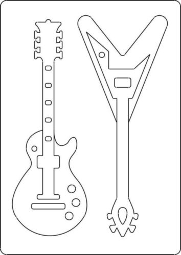A4 size Template With Style, GUITAR. 2 Guitars