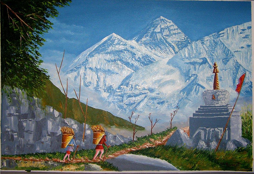 Oil Painting Oil Painting Buddhis Monastry Oil Painting