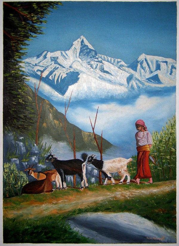 Mountain View Oil Painting