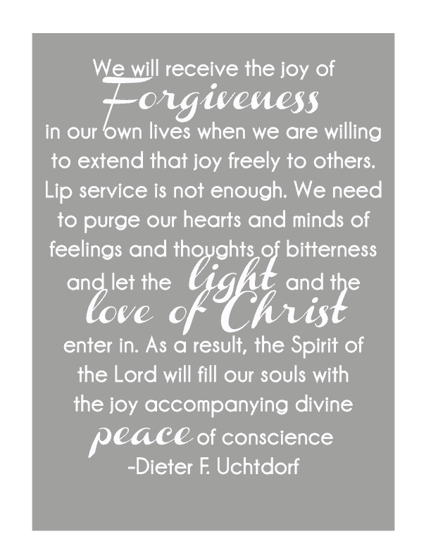 The Peace of Forgiveness, free printable