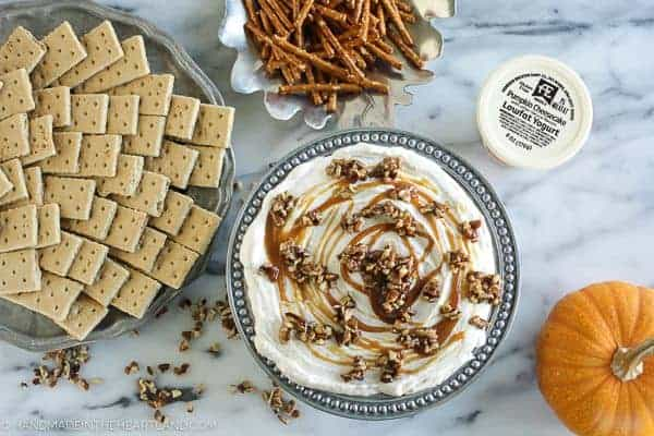 Easy Pumpkin Cheesecake Dip with Caramel & Pecans