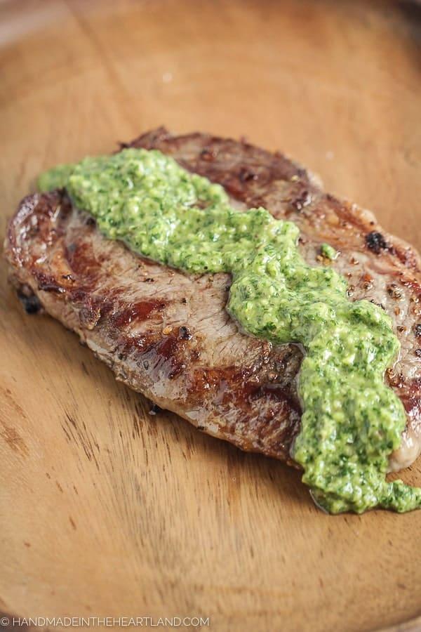 Pan-seared sirloin steak with chimicurri sauce from kansas city steak company