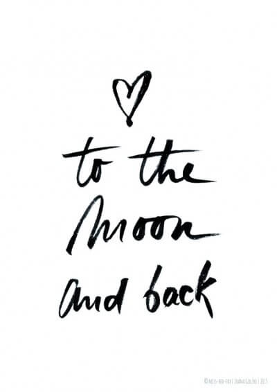 Poster  Love To the moon and back  Geschenke bei HANDMADE Kultur