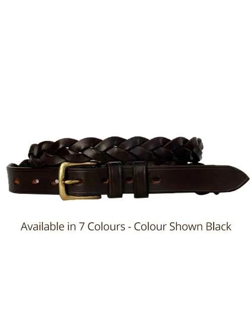 1 inch black three plaited leather belt