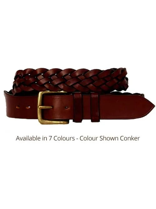 conker five plaited leather belt