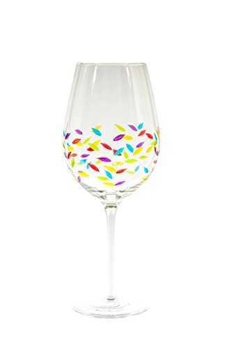 Excellent Jasmin Elegant Hand Painted Large Wine Glass with Etched Leaves  KW66