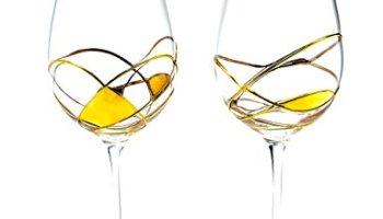 Large Wine Glasses 29Oz Stunning Gold Hand Painted 24Kt ANTONI BARCELONA SET 2 Luxury