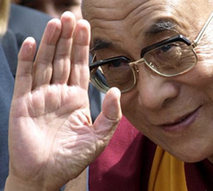 The Dalai Lama's left hand: hello.