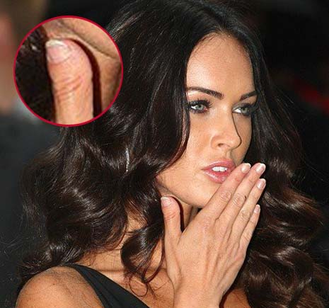 Megan Fox's thumb of her right hand.