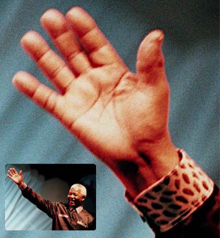 Nelson Mandela's left hand.