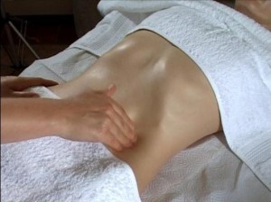 finger-tip massage done at the transverse abdominal wall