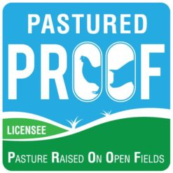 PROOF Pasture Raised on open fields certified