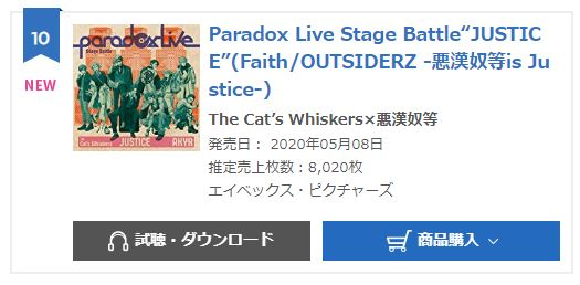 PARADOX LIVE Stage Battle JUSTICE oricon monthly