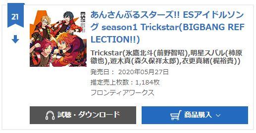 Trickstar ES idol song season1 oricon weekly