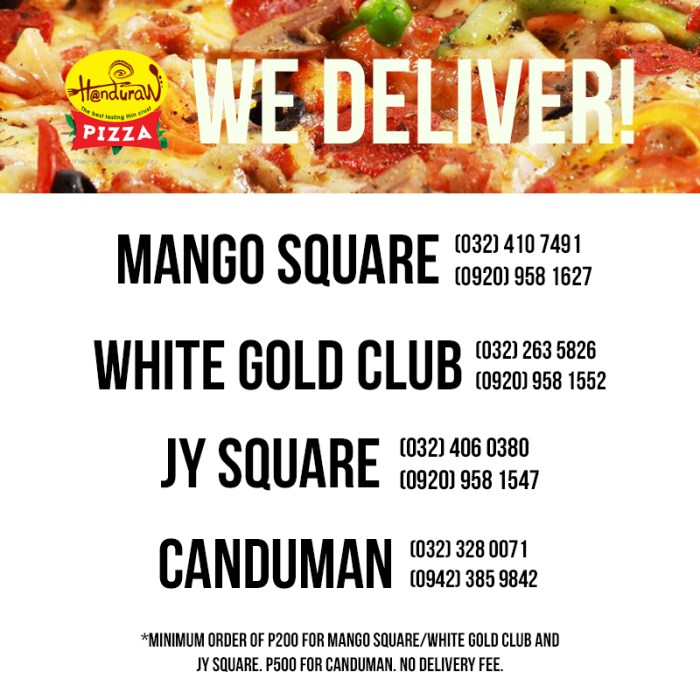 Handuraw Pizza Mango Square, White Gold Club, JY Square, and Canduman delivery numbers.