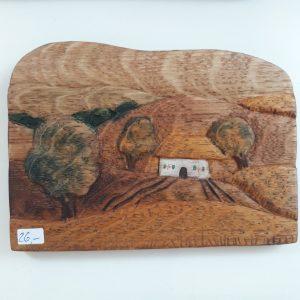 Landschaftsbild aus Holz von Silke Krempien im Atelier Ziege, Schwerin, Ziegenmarkt 11