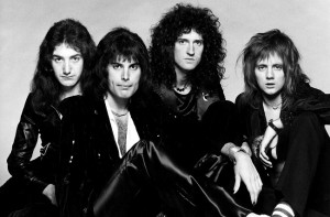 1970s portrait of the British rock-pop group, QUEEN (l-r) John Deacon, Freddie Mercury, Brian May, Roger Talyor. Great Britain / Mono Print