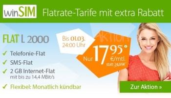winSim Aktionsrabatt bei dem monatlich kündbaren Smartphone Allnet-Flat Tarif Flat L 2000