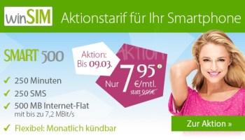 winSIM Aktionstarif für Ihr Smartphone Smart 500 für nur 7,95 Euro monatlich