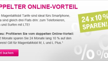 Telekom Online-Vorteil bei den MagentaMobil Smartphone Allnet-Flat Tarifen M-L