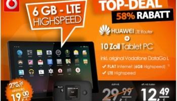 mediaspar.tv Schnäppchenaktion - 6GB LTE Datenflat im Vodafone D2-Netz inklusive LTE Mobile Hotspot von Huwei und 10 Zoll Tablet für monatlich nur 12,49 Euro