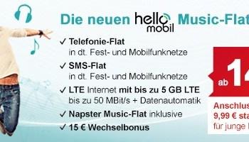 Neue helloMobil LTE Handytarife mit Napster Music-Flat inklusive Telefonie- und SMS-Flat bereits ab 14,99 Euro im Monat