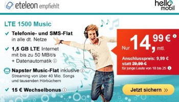 helloMobil Handyverträge inklusive Napster Music-Flat ab günstige 14,99 Euro monatlich