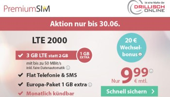 PremiumSIM Aktionstarif LTE 2000 mi 3GB Datenflat für nur 9,99 Euro monatlich