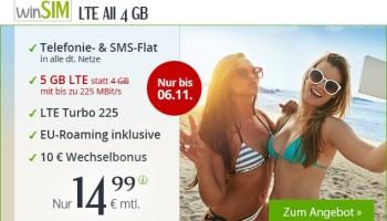 Tariftip - winSIM Allnetflat Handytarif LTE All 4 GB mit 5 GB LTE-Datenvolumen und bis zu 225 Mbit/s für nur 14,99 Euro monatlich